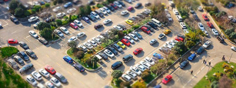 Parking Balice, widok na parking z góry